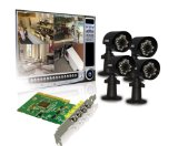 Lorex QLR464 4-Channel PCI DVR Card with 4 Indoor/Outdoor Night Vision Security Camera (Black)